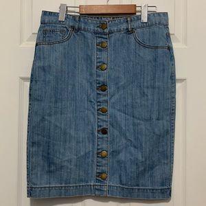 FOREVER 21 light wash denim skirt, size L